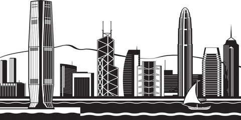 Hong Kong skyline by day - vector illustration