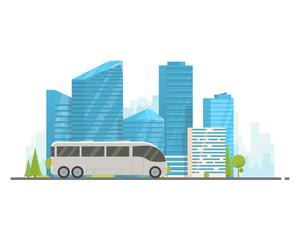 Touristic white bus