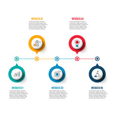 Vector circle elements for timeline infographic. Template for diagram, graph, presentation and chart. Business concept with 5 options, parts, steps or processes.