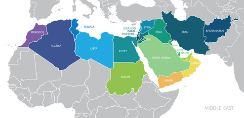 Map of Middle East. Vector Wall mural