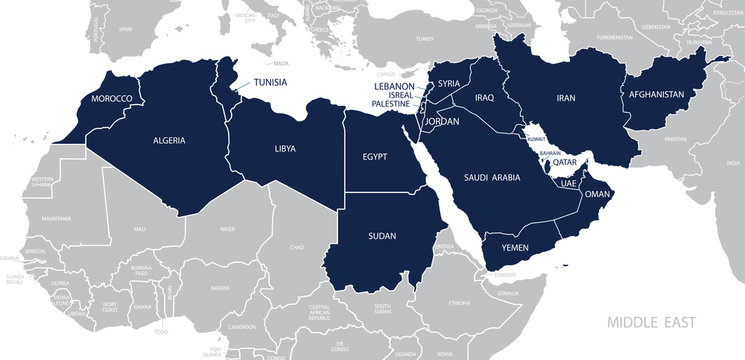 Map of Middle East. Vector