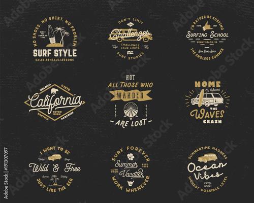Vintage Surfing Graphics and Emblems set for web design or print ...