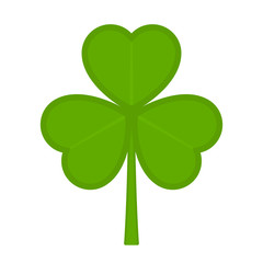 Vector illustration of shamrock isolated on white background. Saint Patricks Day symbol in flat style. Green clover icon for Irish holiday.