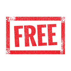 Free grunge retro red isolated stamp on white background