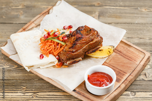 Beef Ribs Grill Serving On A Wooden Board Rustic Table Barbecue Restaurant