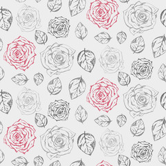 Monochrome gray hand drawn vintage seamless pattern with accent dark pink roses. Romantic retro gravure flowers and leaves texture for textile, wrapping paper, surface, wallpaper, cover, background