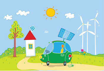 Ecology city concept as the solar and wind energy using, ecology car.