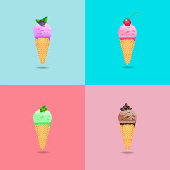 ice cream set on pastel colors background