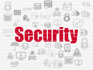 Security concept: Painted red text Security on White Brick wall background with Scheme Of Hand Drawn Security Icons
