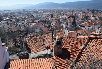 Ceramic, orange roofs of old houses. Mugla. Turkey