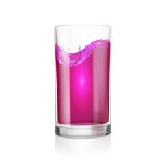 Black currant or blackberry blueberry juice glass realistic illustration