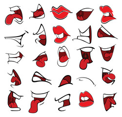 Poster Baby room A Set of Cartoon Illustrations. Mouths for you Design