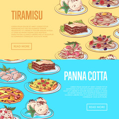 Italian sweet menu flyers with national cuisine dishes. Pizza, pasta with shrimp, ravioli, tiramisu, frittata, spaghetti bolognese, lasagna, panna cotta. Restaurant advertising vector illustration.