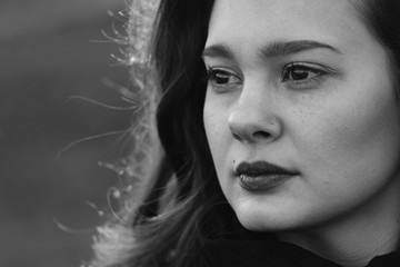 Solitude portrait. Black and white woman portrait.