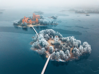 Trakai Island Castle, winter season, aerial view. History Museum.