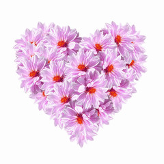Foto op Canvas Surrealisme Heart Pink Flowers