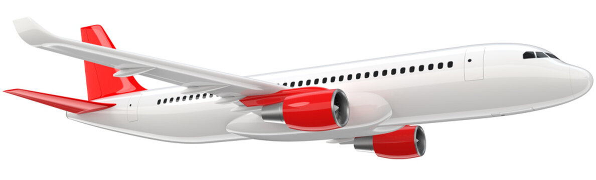 High detailed white airliner with a red tail wing, 3d render on a white background. Airplane Take Off, isolated 3d illustration. Airline Concept Travel Passenger plane. Jet commercial airplane