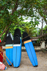 Set of different color surf boards in a stack by ocean.Bali.Indonesia. Surf boards on sandy beach. On Weligama beach surf is available all year around for beginner and advanced.
