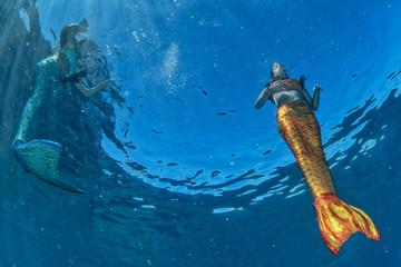 two Mermaid swimming underwater in the deep blue sea
