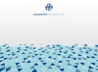 Abstract blue geometric triangle structure perspective background.