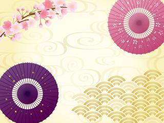 桜と和傘の背景素材
