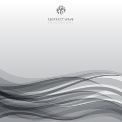 Abstract balck and white curve lines pattern wave on gray background and texture.