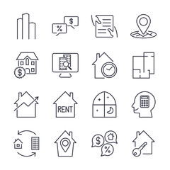 Real Estate Icons. Professional, pixel perfect icons optimized for both large and small resolutions. EPS 10 format. Editable stroke
