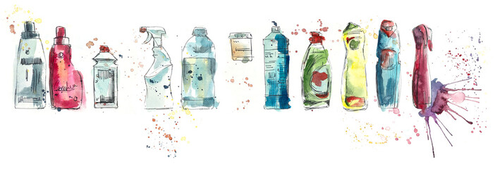 Different bottles. Household chemicals. Watercolor hand drawn illustration