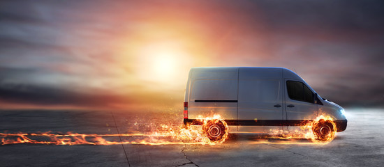 Super fast delivery of package service with van with wheels on fire Wall mural