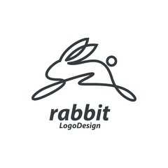 Single Line Art Bunny Jump, Line Art Rabbit Run, Single Line Design Logo Vector