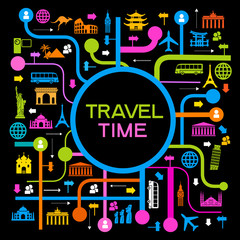A set of elements for travel and vacations.0010118