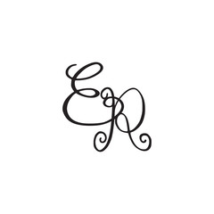 Handwritten monogram ER icon