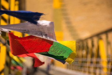 Colourful Buddhist prayer flags fluttering
