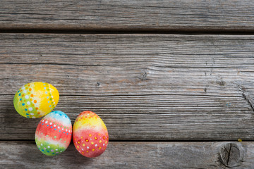 Easter painted eggs on a wooden