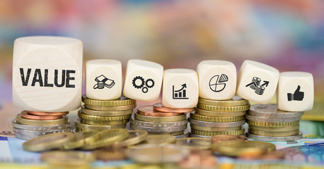 Value / Münzenstapel mit Symbole