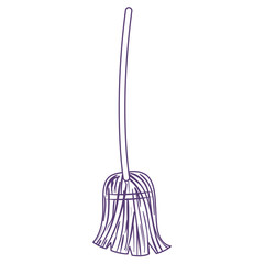 witch broom in purple contour over white background vector illustration