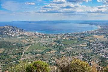 Viewpoint over the gulf of Roses from the mountain, Spain, Mediterranean sea, Costa Brava, Alt Emporda, Girona, Catalonia