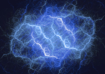 Blue plasma cloud, storm and lightning abstract