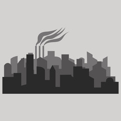 Vector illustration - The silhouette of the city in a flat style.