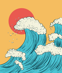 Hand draw a cartoon illustration of the wave in Japanese style. Vector digital drawing