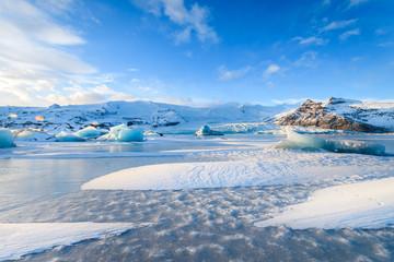 Fotobehang Gletsjers frozen landscape at vatnajokull glacier, Iceland