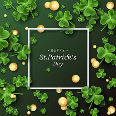St. Patrick's Day card. Clover leaves with coins on dark green background for greeting holiday design. Vector illustration.