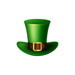 Realistic St. Patrick's Day green leprechaun hat. Isolated on white background. Vector illustration