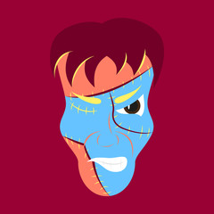 Flat Cartoon evil Frankenstein Head