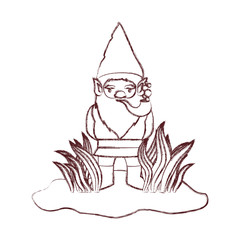 gnome coming out of the bushes with smoking pipe in brown blurred silhouette vector illustration