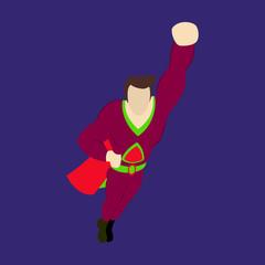 Superhero cartoon icon with superman on background isolated flat illustration