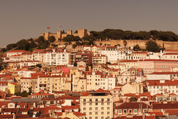 Cityscape with Castelo de Sao Jorge at sunset, Lisbon, Portugal