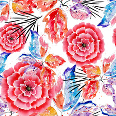 Seamless colorful abstract flower pattern.Flowers, leaves on white background.