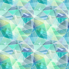 Seamless abstract polygonal geometric pattern.Turquoise, gray, green triangles.