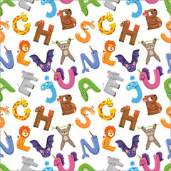 Alphabet seamless pattern.